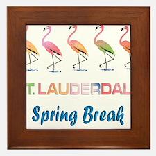 Tropical Flamingos FORT LAUDERDALE Spr Framed Tile
