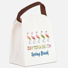 Tropical Flamingos DAYTONA BEACH Canvas Lunch Bag