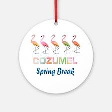 Tropical Flamingos COZUMEL Spring Ornament (Round)