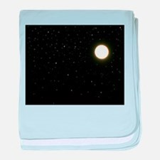black moon night stars baby blanket