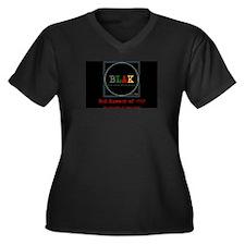 Blak Women's Plus Size V-Neck Dark T-Shirt
