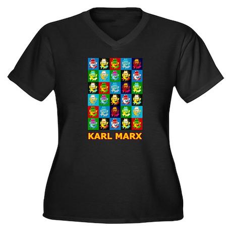 Pop Art Karl Marx Women's Plus Size V-Neck Dark T-
