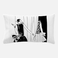 1920s vintage flappers black white dra Pillow Case