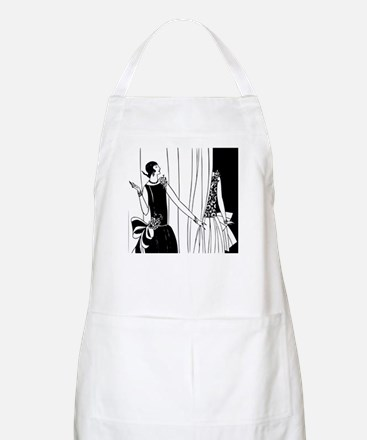 1920s vintage flappers black white drawing Apron