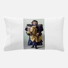 antique doll child blue gold Pillow Case