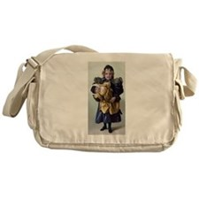 antique doll child blue gold Messenger Bag