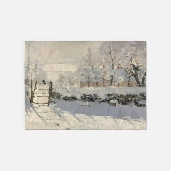 Monet Magpie Snowy Landscape Low Poly 5'x7'Area Ru