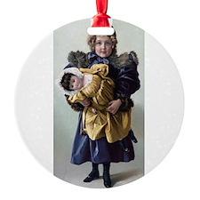 antique doll child blue gold Ornament