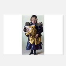 antique doll child blue g Postcards (Package of 8)