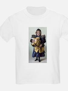 antique doll child blue gold T-Shirt