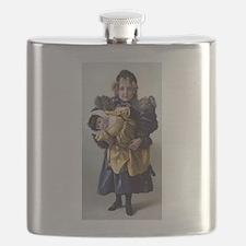 antique doll child blue gold Flask