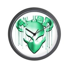 Alien with Logo Molten Teal Wall Clock