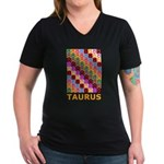 Pop Art Taurus Women's V-Neck Dark T-Shirt