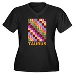 Pop Art Taurus Women's Plus Size V-Neck Dark T-Shi
