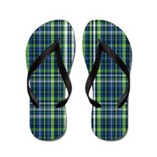 Lime and Blue Plaid Flip Flops