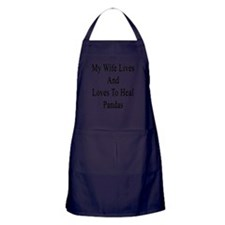 My Wife Lives And Loves To Heal Panda Apron (dark)