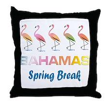 Tropical Flamingos BAHAMAS Spring Bre Throw Pillow