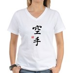 Karate Symbols Women's V-Neck T-Shirt - Kanji Tee