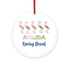 Tropical Flamingos ARUBA Spring B Ornament (Round)