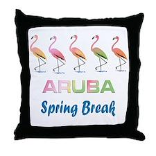 Tropical Flamingos ARUBA Spring Break Throw Pillow