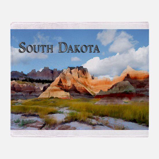 Mountains Sky in the Badlands Natio Throw Blanket