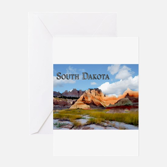 Mountains Sky in the Badlands Nati Greeting Cards