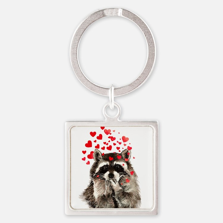 Raccoon Blowing Kisses Cute Animal Love Keychains