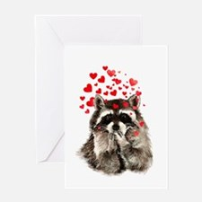 Raccoon Blowing Kisses Cute Animal Love Greeting C