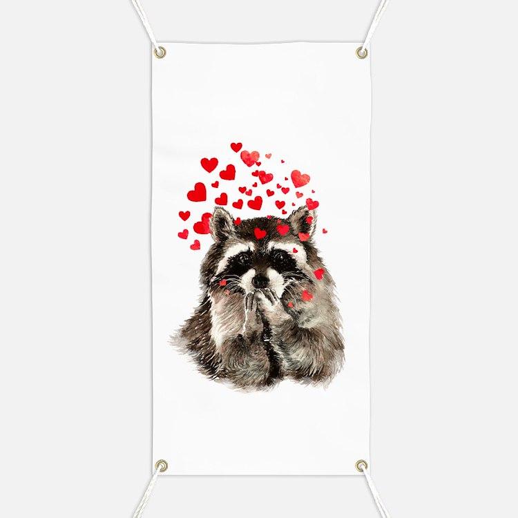 Raccoon Blowing Kisses Cute Animal Love Banner