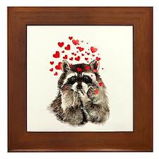 Raccoon Blowing Kisses Cute Animal Love Framed Til