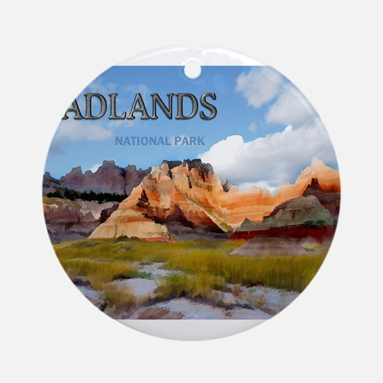 Mountains Sky in the Badlands Na Ornament (Round)