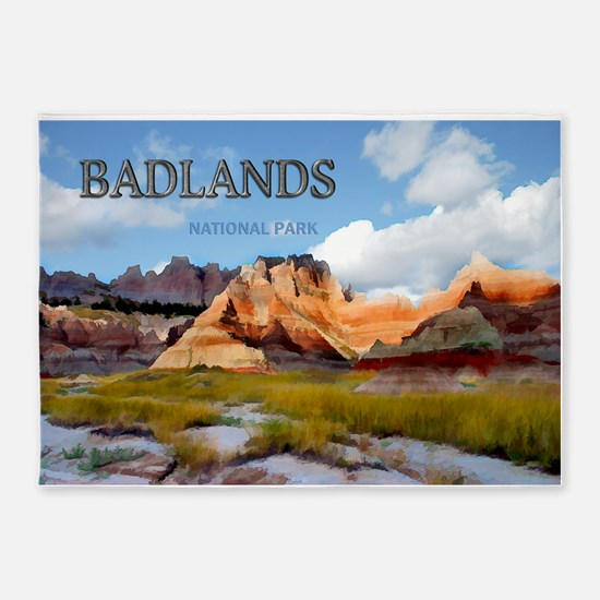 Mountains Sky in the Badlands Nati 5'x7'Area Rug
