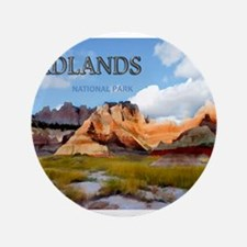 """Mountains Sky in the Badlands Nationa 3.5"""" Button"""