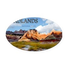 Mountains Sky in the Badlands Nat Oval Car Magnet