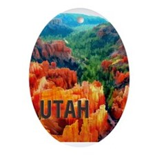 Hoodoos in Bryce Canyon National P Ornament (Oval)