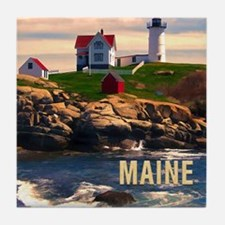 Cape Neddick Lighthouse Maine at Suns Tile Coaster