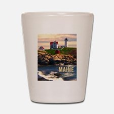 Cape Neddick Lighthouse Maine at Sunset Shot Glass