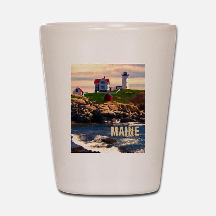 Cape Neddick Lighthouse Maine at Sunset Shot Glass