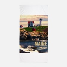 Cape Neddick Lighthouse Maine at Sunse Beach Towel