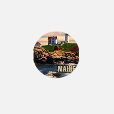 Cape Neddick Lighthouse Maine at Sunse Mini Button