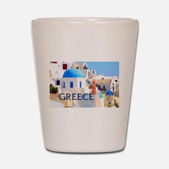 Blinding White Buildings in Greece Shot Glass