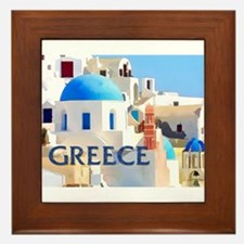 Blinding White Buildings in Greece Framed Tile