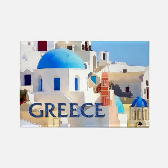 Blinding White Buildings in Greece Magnets