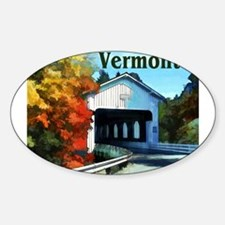 White Covered Bridge Colorful Autumn Verm Decal