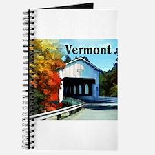 White Covered Bridge Colorful Autumn Verm Journal