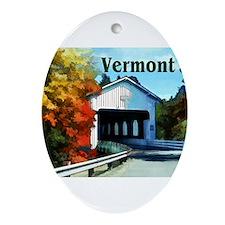 White Covered Bridge Colorful Aut Ornament (Oval)