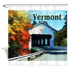 White Covered Bridge Colorful Autu Shower Curtain