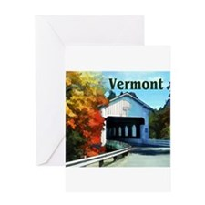 White Covered Bridge Colorful Autu Greeting Cards
