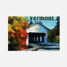 White Covered Bridge Colorful Autumn Verm Magnets