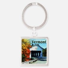 White Covered Bridge Colorful Autumn Ve Keychains